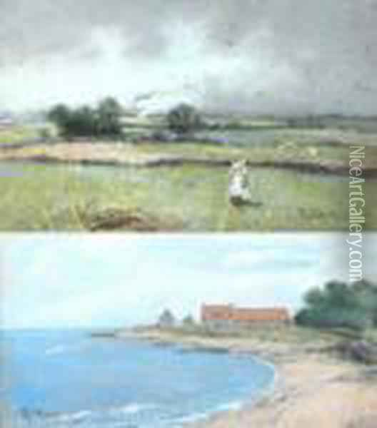 Scottish Bay Withbuildings And Woman In The Field Oil Painting - Robert Gemmell Hutchison