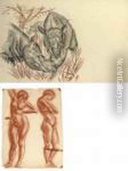 Rhinos (illustrated); Study Of A  Male Nude; Study Of A Female Nude; And Two Studies Of A Standing Female  Nude (illustrated) Oil Painting - Alexander Evgenievich Yakovlev