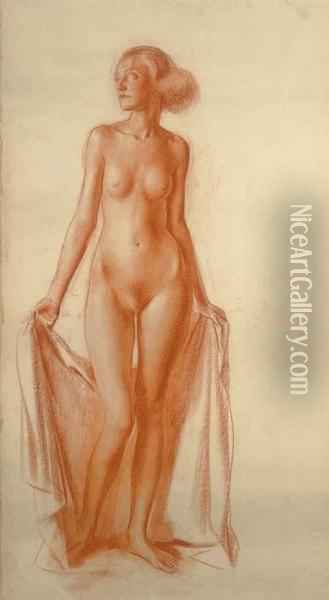 Standing Female Nude Oil Painting - Alexander Evgenievich Yakovlev