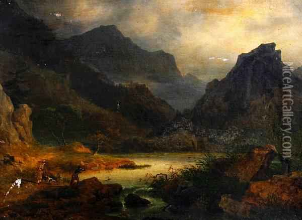 A Mountainous Landscape With Two Sportsmen Shooting Duck Oil Painting - Julius Caesar Ibbetson