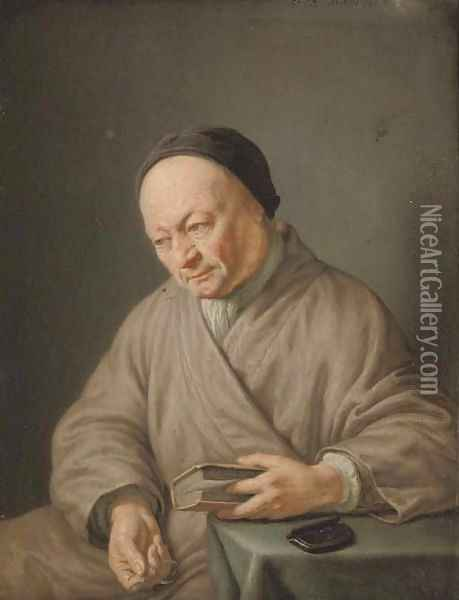 An elderly man, three-quarter-length, seated in a beige robe with a black cap, holding a book in his left hand and glasses in his right Oil Painting - Frans van Mieris