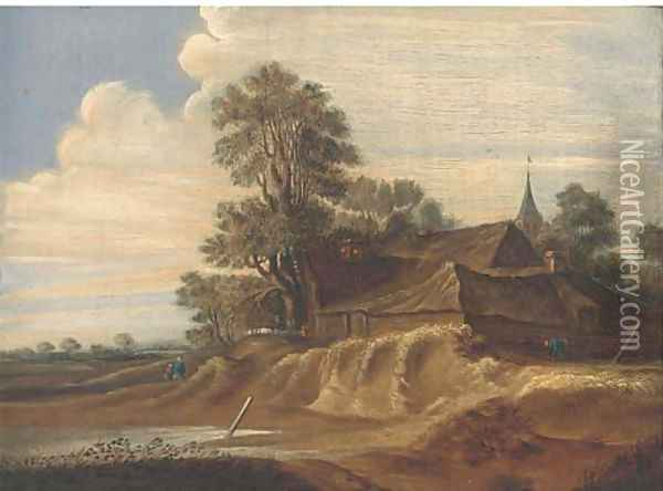 A landscape with a farm and farmhands; and A riverside town with fishermen in a boat and a windmill beyond Oil Painting - Pieter Molijn