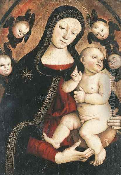 The Madonna and Child with Cherubs Oil Painting - Master Of The Orte Madonna