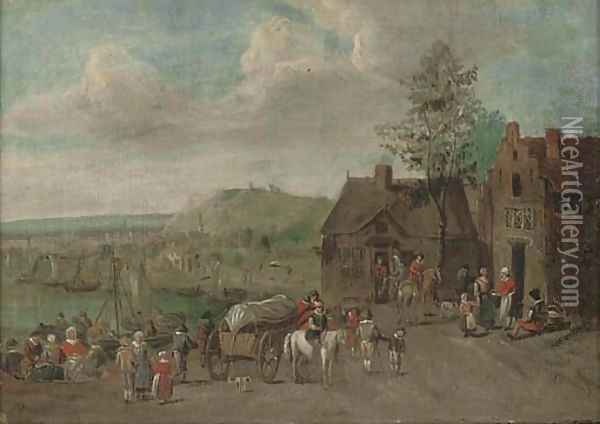 A river landscape with travellers by an inn Oil Painting - Theobald Michau