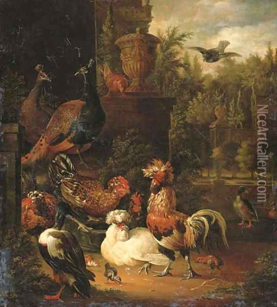 A rooster with hens, chicks, ducks, peacocks and pigeons Oil Painting - Pieter Van Mase