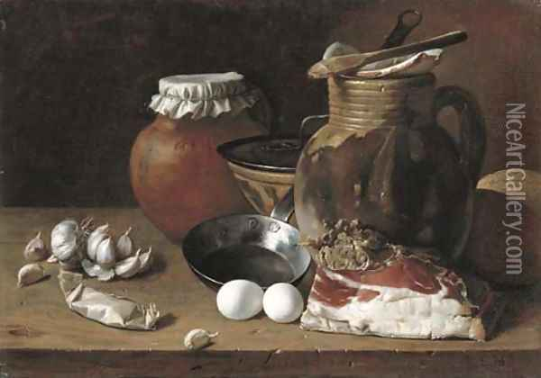 Ham, eggs, cloves of garlic, bread, terracotta pots and a frying pan on a wooden ledge Oil Painting - Luis Eugenio Melendez