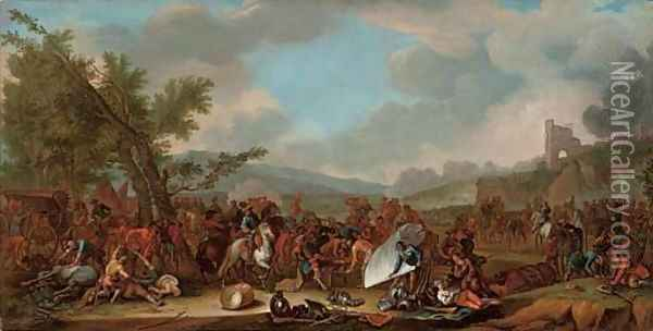A military encampment after a battle Oil Painting - Adam Frans van der Meulen
