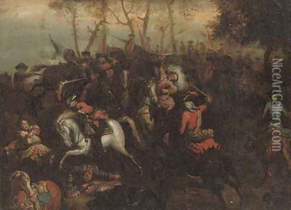 A cavalry skirmish 2 Oil Painting - Adam Frans van der Meulen