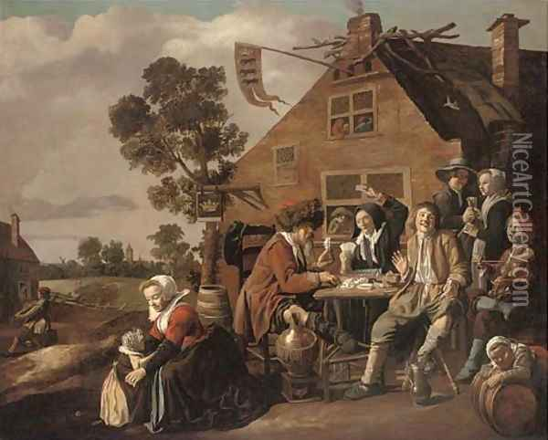 Card players outside a tavern Oil Painting - Jan Miense Molenaer