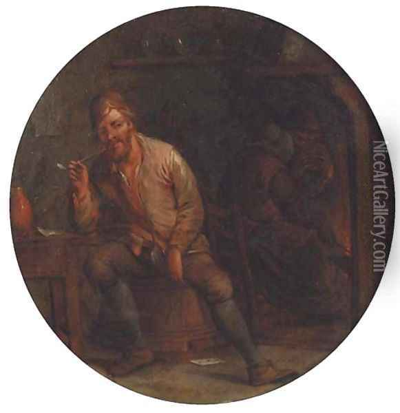 A boor smoking a pipe in an interior, a peasant by a fireplace beyond Oil Painting - Jan Miense Molenaer
