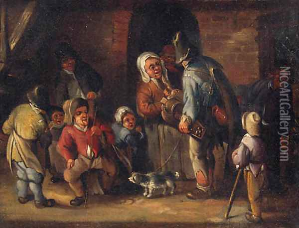 A hurdy-gurdy player conversing with peasants outside a cottage Oil Painting - Jan Miense Molenaer