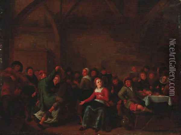Peasants merrymaking in a tavern Oil Painting - Jan Miense Molenaer