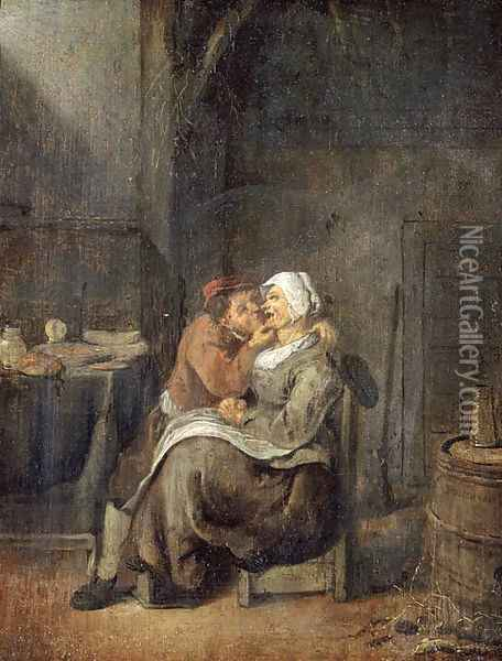 A boor courting a maid in a barn Oil Painting - Jan Miense Molenaer