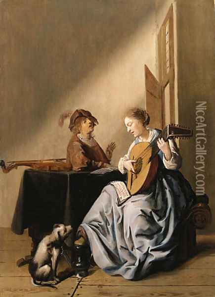 A young Woman playing a Lute with a Youth singing in an Interior Oil Painting - Jan Miense Molenaer