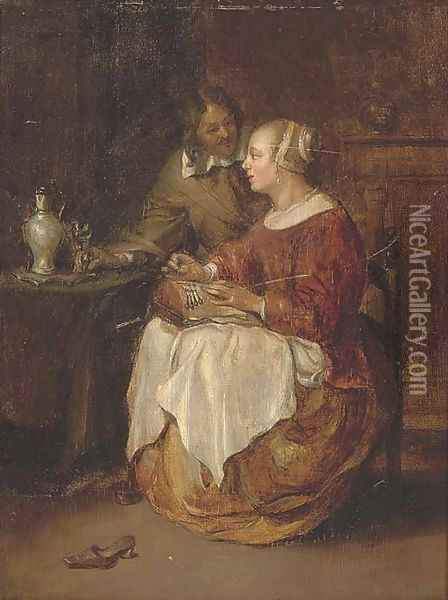 A lady sewing with a gentleman in an interior Oil Painting - Gabriel Metsu