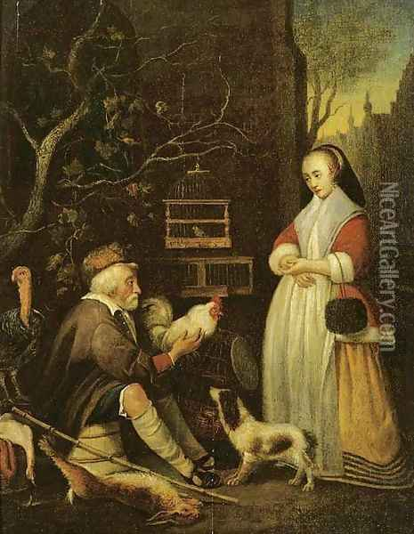 An old man selling game to an elegant lady Oil Painting - Gabriel Metsu