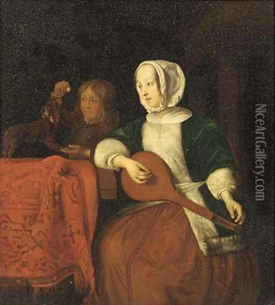 A lady playing a lute with a boy and his dog behind Oil Painting - Gabriel Metsu