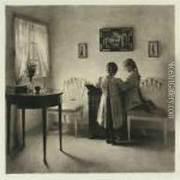 Two Little Girls Playing Oil Painting - Peder Vilhelm Ilsted