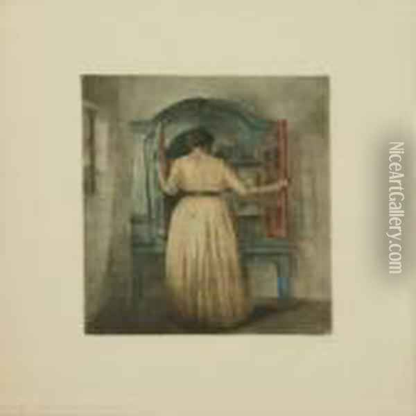 The Blue Cupboard Oil Painting - Peder Vilhelm Ilsted