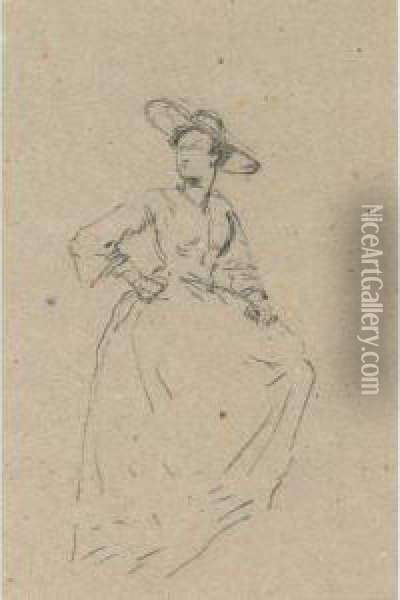 A Lady In A Wide Brimmed Hat (two Views, A Double-sideddrawing) Oil Painting - Eugene Isabey