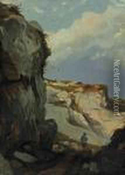 A Figure At The Foot Of A Cliff Oil Painting - Eugene Isabey