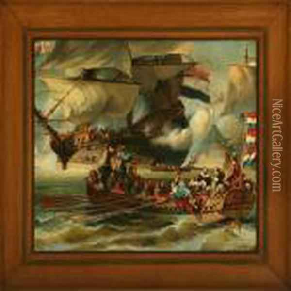 Naval Battle Oil Painting - Eugene Isabey