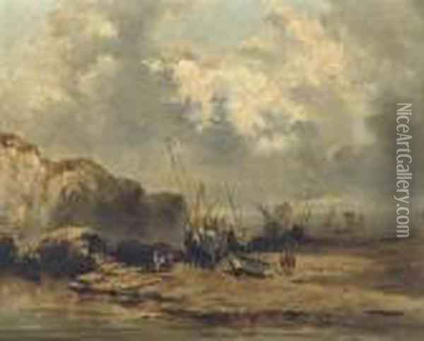 Ships By Low Tide Oil Painting - Eugene Isabey