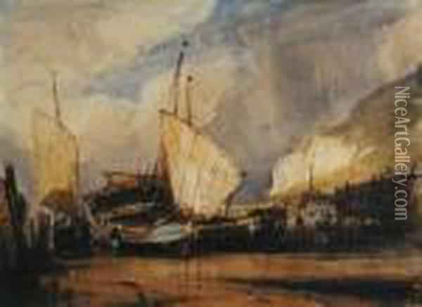 Beached Boats Oil Painting - Eugene Isabey