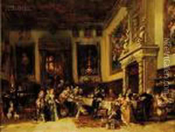 A Royal Banquet Oil Painting - Eugene Isabey
