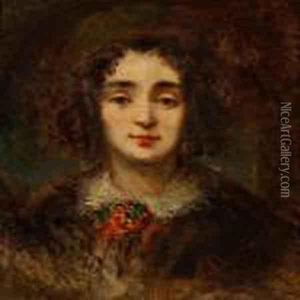 Portrait Of A Young Girl With Corkscrew Curls Oil Painting - Eugene Isabey