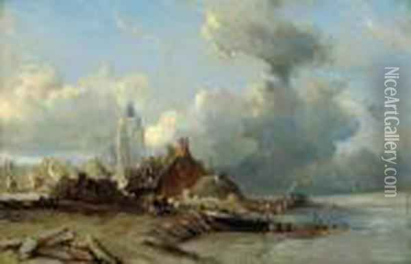 Stadt Am Meer Oil Painting - Eugene Isabey