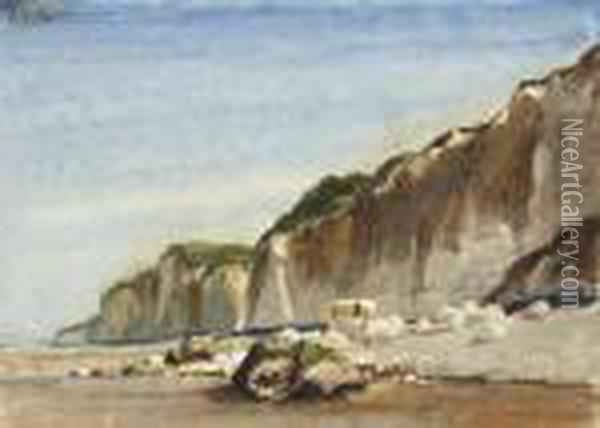 A Coastal Scene With Cliffs Oil Painting - Eugene Isabey
