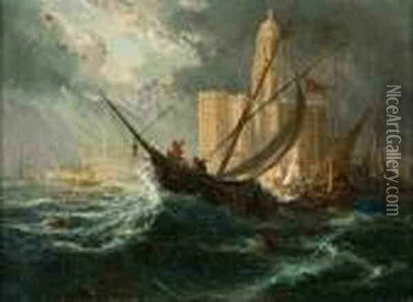 Shipping In Stormy Waters Off A Coastal City Oil Painting - Eugene Isabey
