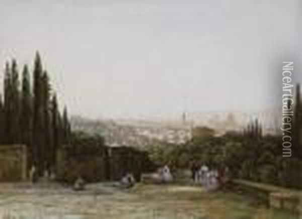 View Of Florence Oil Painting - Eugene Isabey