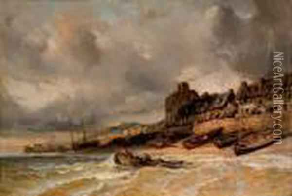 Port A Maree Basse Oil Painting - Eugene Isabey