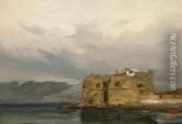 A View Of A Fortification Along A Coast Oil Painting - Eugene Isabey