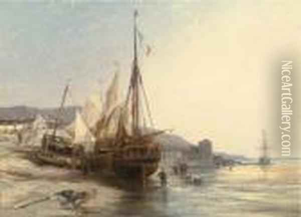Fishing Boats On The Beach At Low Tide Oil Painting - Eugene Isabey