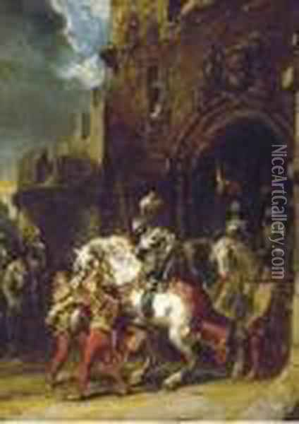 Knights On Horses Leaving The Fortress Oil Painting - Eugene Isabey