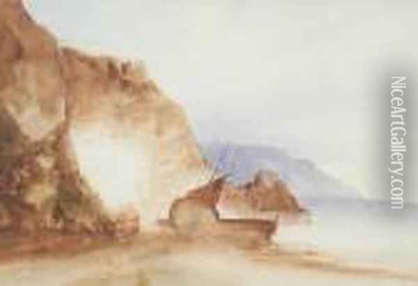 A Boat On A Seashore Line By Cliffs Oil Painting - Eugene Isabey