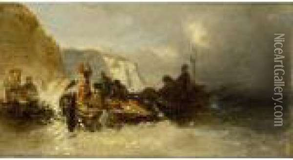 Boat In Distress Near The Rocks Oil Painting - Eugene Isabey