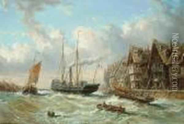Vessels Before A French Harbour Town Oil Painting - Eugene Isabey