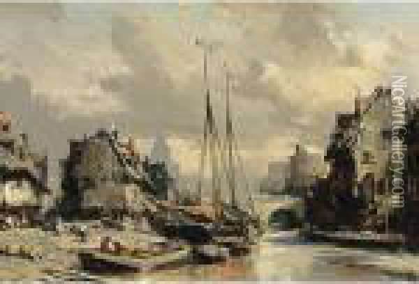 A Harbour Scene In A Town Oil Painting - Eugene Isabey