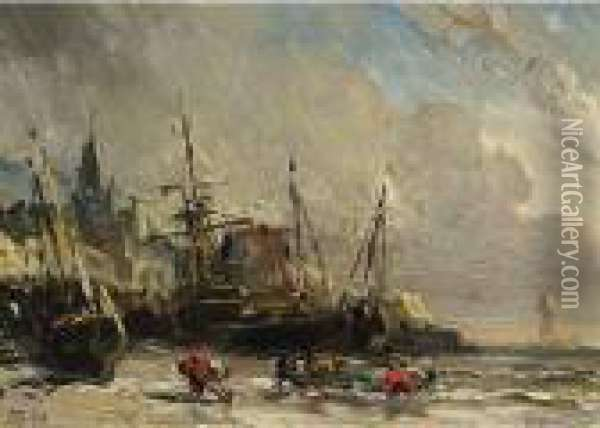 A Beach Scene Oil Painting - Eugene Isabey