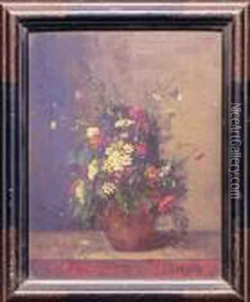 Floral Still Life Oil Painting - Eugene Isabey