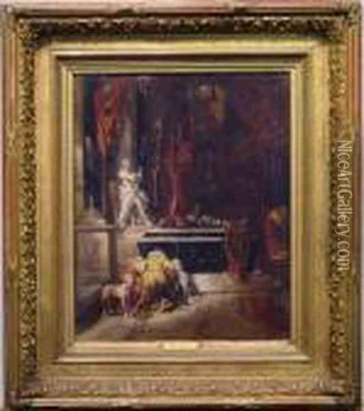 Before The Tomb Oil Painting - Eugene Isabey