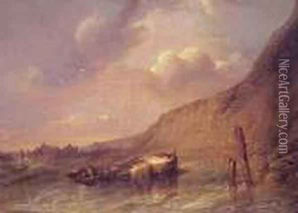 Boat Beached On The Norman Coast Oil Painting - Eugene Isabey