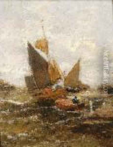 Fishing Boats At Sea Oil Painting - Eugene Isabey