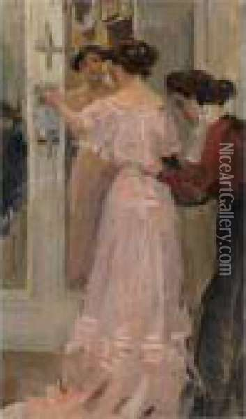 In The Fitting Room Of Hirsch, Amsterdam Oil Painting - Isaac Israels