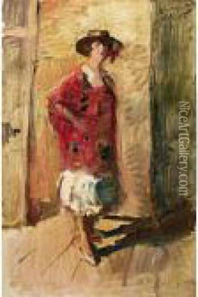 A Full Length Portrait Of An Actress In A Hat Oil Painting - Isaac Israels