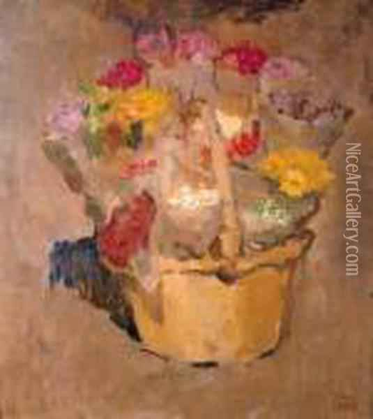 Flowers In A Wicker Basket Oil Painting - Isaac Israels